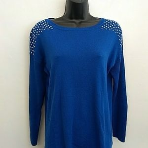 Chaus Women's Size S Blue Beaded Sweater